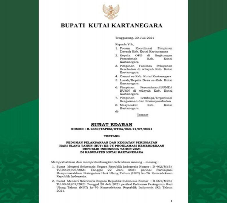 Bupati Kukar Terbitkan Surat Edaran Tentang Pedoman Pelaksanaan Kegiatan Peringatan HUT RI ke-76